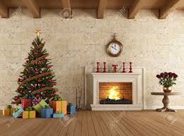 vintage livingroom with christmas tree gift and fireplace
