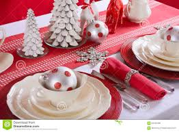 red and white christmas table setting stock photo image 63426496