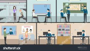 police station interior set rooms office stock vector 551966044