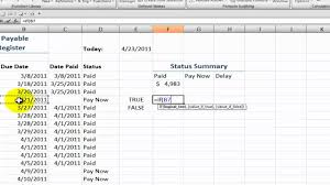 Accrual Spreadsheet Template How To Create An Accounts Payable Status Summary In Excel Youtube