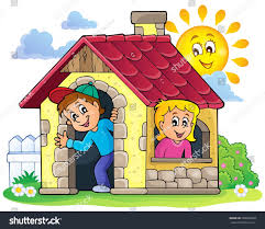 children playing small house theme 3 stock vector 258290060