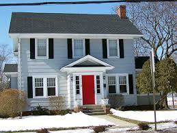red door on blue gray house living spaces pinterest red