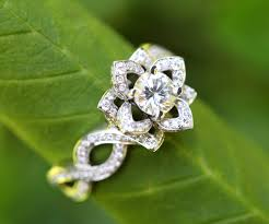 lotus flower engagement ring in bloom flower lotus diamond engagement or right