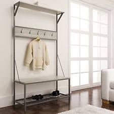 Coat Tree With Bench Weathered Oak Metal Entryway Shoe Bench With Coat Rack Hall Tree
