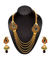 necklace design images Pourni peacock design long necklace set buy pourni peacock jpg