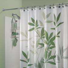 interdesign green leaves fabric shower curtain bedbathhome com