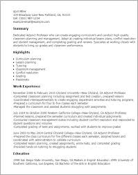 ideas collection adjunct professor resume sample on example