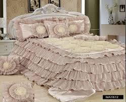 Ruffled Bed Set Tache 6 Luxury Beige Cinnamon Chai Ruffled Comforter Set