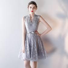 robe grise pour mariage grise pour mariage cortège courte en dentelle col v