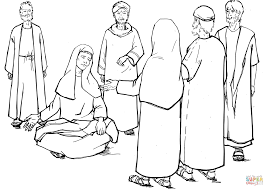 blind bartimaeus asks jesus for mercy coloring page free