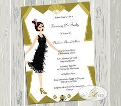 art deco flapper roaring 20s party invitation u2014 shy socialites