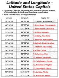 united states map with longitude and latitude cities latitude and longitude worksheet u s capitals tpt