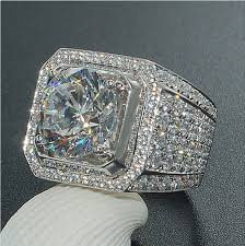 mens ring 18k ip white gold stainless steel simulated diamond band micropave