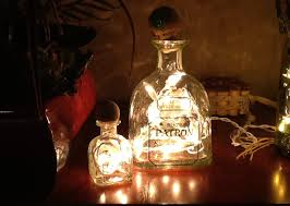 lights made out of wine bottles i made this double patron bar light using the instructions for
