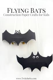 flying construction paper bats halloween crafts for kids