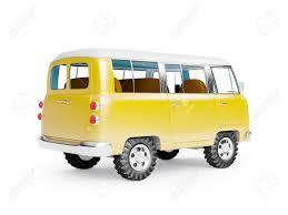 volkswagen van cartoon retro safari van in cartoon style back view isolated on white