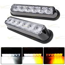 golf cart led strobe lights 2x white amber 6 led 16 flashing car truck warning hazard emergency