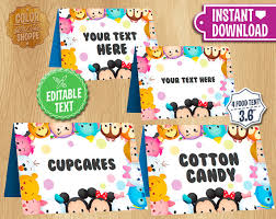 tsum tsum table tents instant customizable food tent