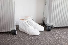 christian louboutin louis white spikes leather sneaker u2013 second
