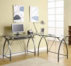 Metal And Glass Computer Desks Office Glass Office Desk Ideas Using Transparent Glass Computer
