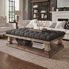 60 inch long coffee table signal hills knightsbridge tufted linen baluster 60 inch ottoman
