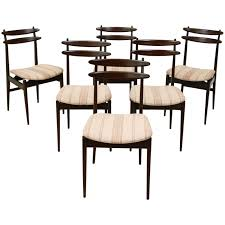 Set Of Teak Dining Table Set Of 6 Italian Teak Dining Chairs Attributed To Vittorio Dassi