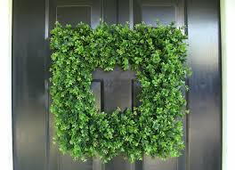 square boxwood wreath hanging boxwood wreath with ribbon u2013 home