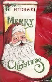 vintage janlynn traditional santa merry christmas cross stitch