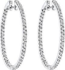 simon g white gold hoop earrings with diamonds sg me1405