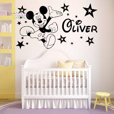 compare prices on mickey mouse wall art online shopping buy low mickey mouse wall sticker personalised name vinyl stickers star decorative stickers nursery room wall art kids