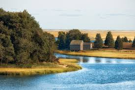 free stock photo of river landscape and house at cape cod
