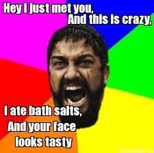 Bath Salts Meme - meme maker hey i just met you and this is crazy i ate bath salts
