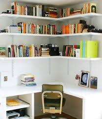 home office designes with built in desk and floating white corner