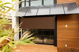 exterior brown bamboo roll up window blind hanging on wooden deck
