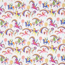 white henry fabric colorful unicorn magic rainbow