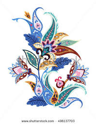 decorative flower paisley ethnic decorative flower for print floral painting vector