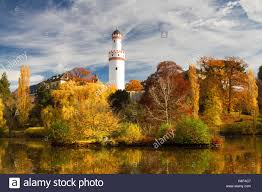 park of castle bad homburg in fall colors hessen germany stock