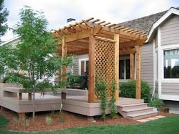 Lattice Pergola Roof by Composite Backyard Deck With Pergola And Lattice Adding A