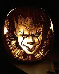 i dremled a portrait of pennywise on a foam pumpkin for halloween
