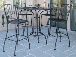 Iron Patio Table With Umbrella Hole by Woodard Aurora Wrought Iron 42 Round Mesh Top Bar Height Table