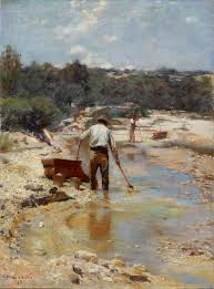 Seeking Painting Seeking For Gold Cradling 1893 By Walter Withers The