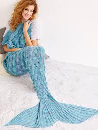 Light Blue Mermaid Dress Light Blue Crocheted Fish Scale Design Mermaid Blanket Shein