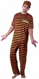 Halloween Jail Costumes Mens Jail Convict Inmate Prisoner Costume Striped Halloween