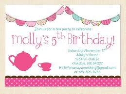 Tea Party Invitation Card Birthday Invites Girls Birthday Invitations Images