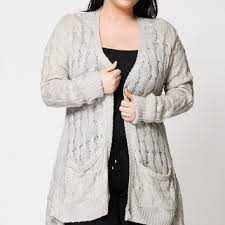 plus size cable knit sweater shop grey cable cardigan on wanelo