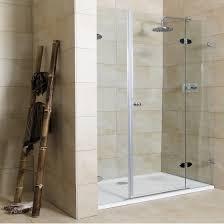 bathroom frameless shower glass doors designs with silver handle