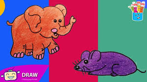 how to draw elephant mouse coloring pages for kids nursery