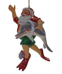 man and woman scuba divers diving christmas holiday ornaments set