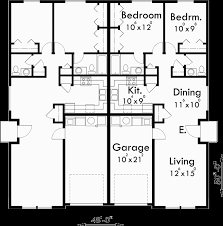 main floor plan for d 449 one story duplex house plans narrow