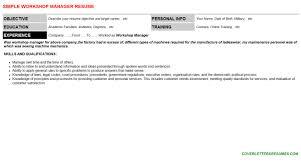 workshop manager cover letter u0026 resume